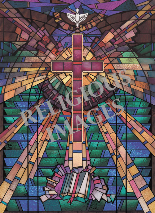 Modern Cross stained glass window film