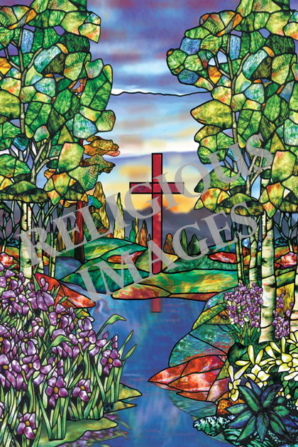 River of Life stained glass window film