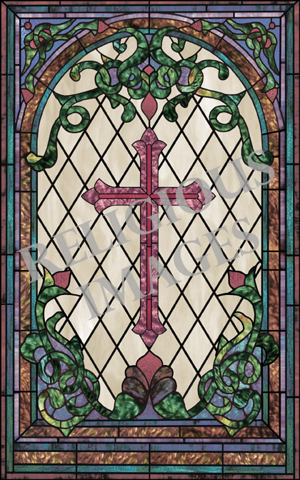 Traditional Cross stained glass window film